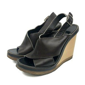 Chloe Dune Sports Sandals Brown Leather Straps 38